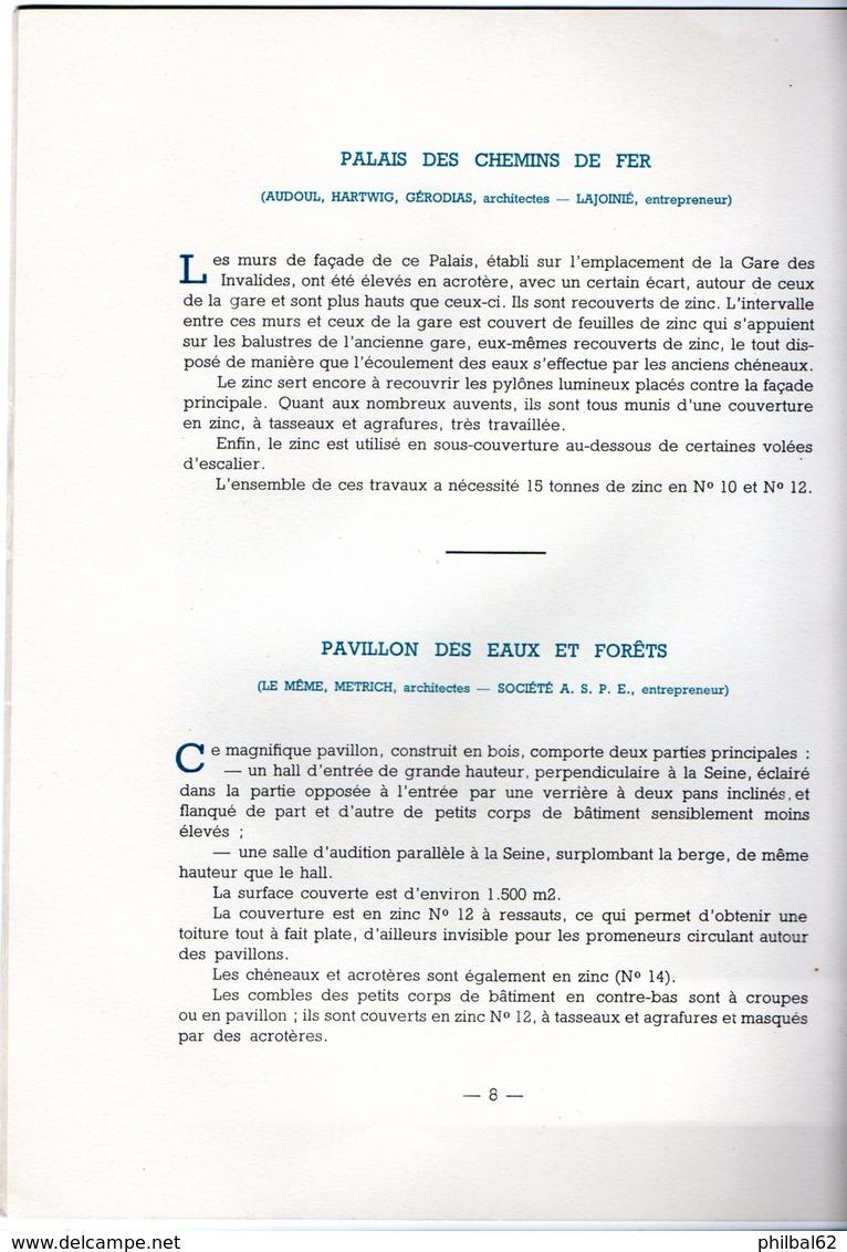 Catalogue 20 Pages. Le Zinc à L'exposition De Paris 1937. - France