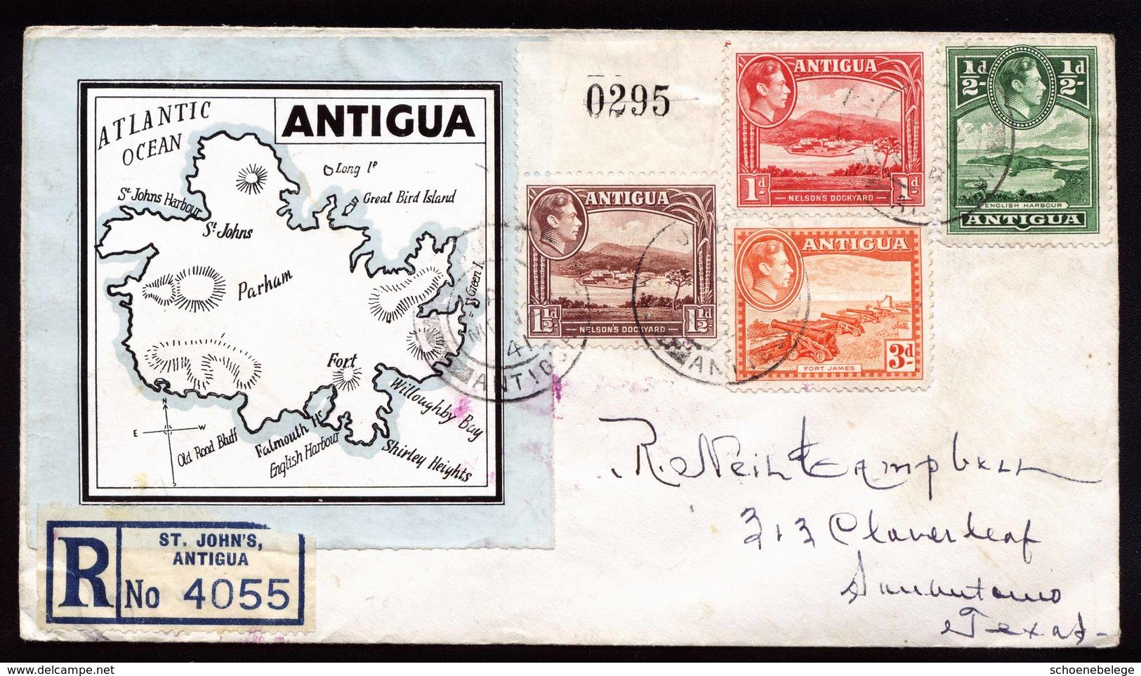 A5949) UK Antigua R-Brief 12.03.41 N. San Antonio / US - Antigua & Barbuda (...-1981)