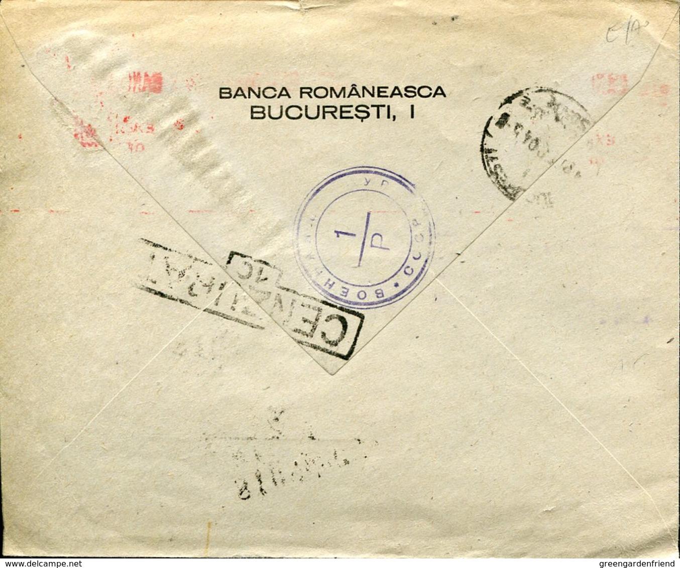 43424 Romania, Circuled Registered Censured Cover 1945 From Bucuresti To Prag, Banca Romaneasca Bucuresti - 2. Weltkrieg (Briefe)