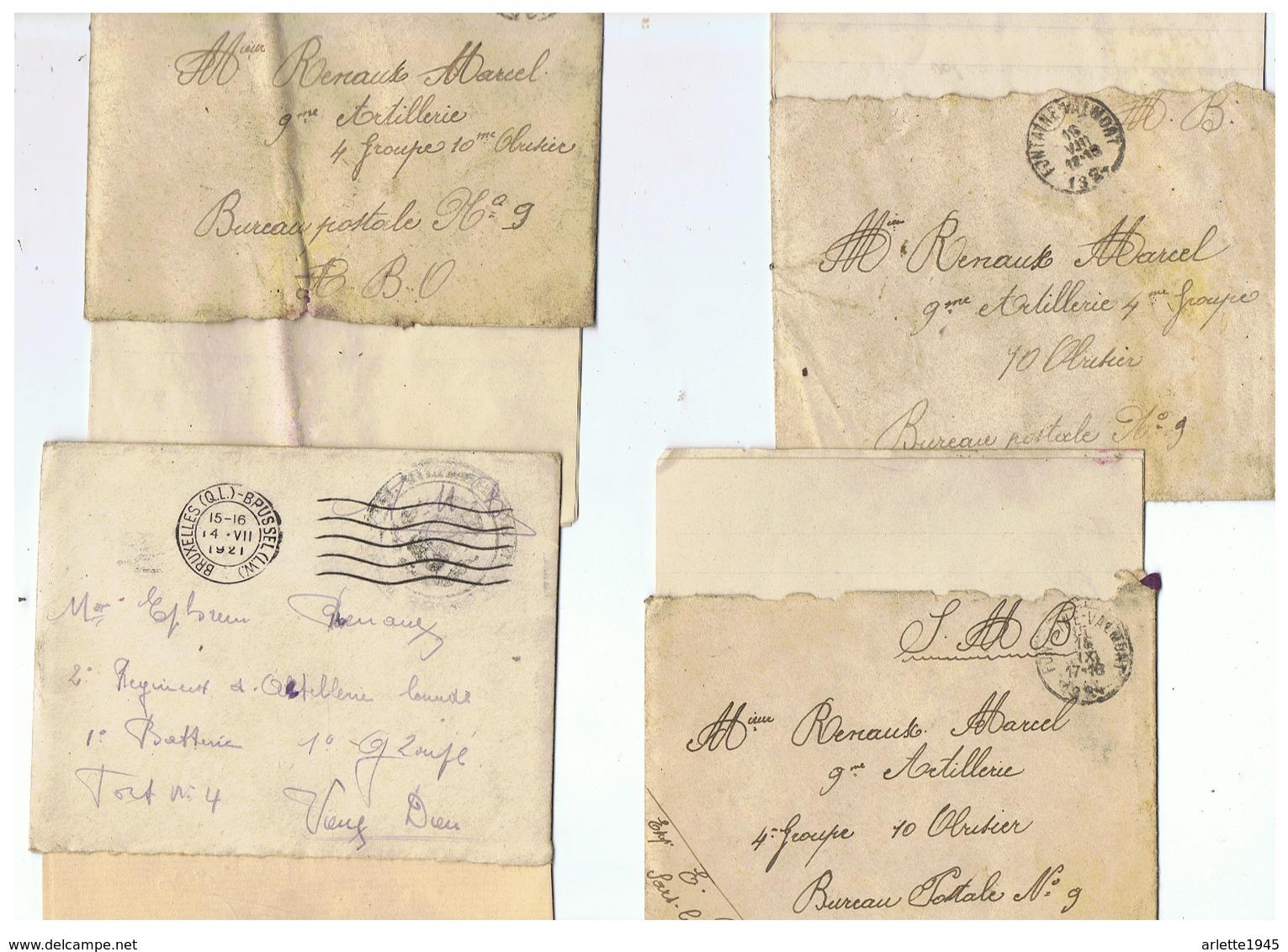 CORRESPONDANCE MILITAIRE BELGE MILITAIRE DE SARS LA BUISSIERE 1921  1924 - 1914-18