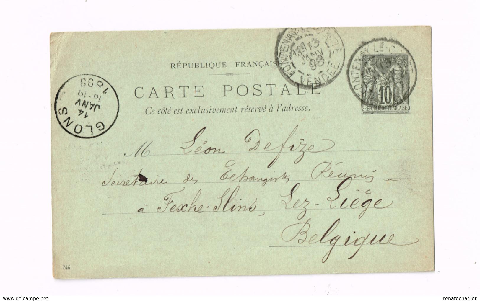 Entier Postal à 10 Centimes.Expédié De Fontenay-le-Comte (Vendée) à Fexhe-Slins (Glons/Belgique) - Entiers Postaux