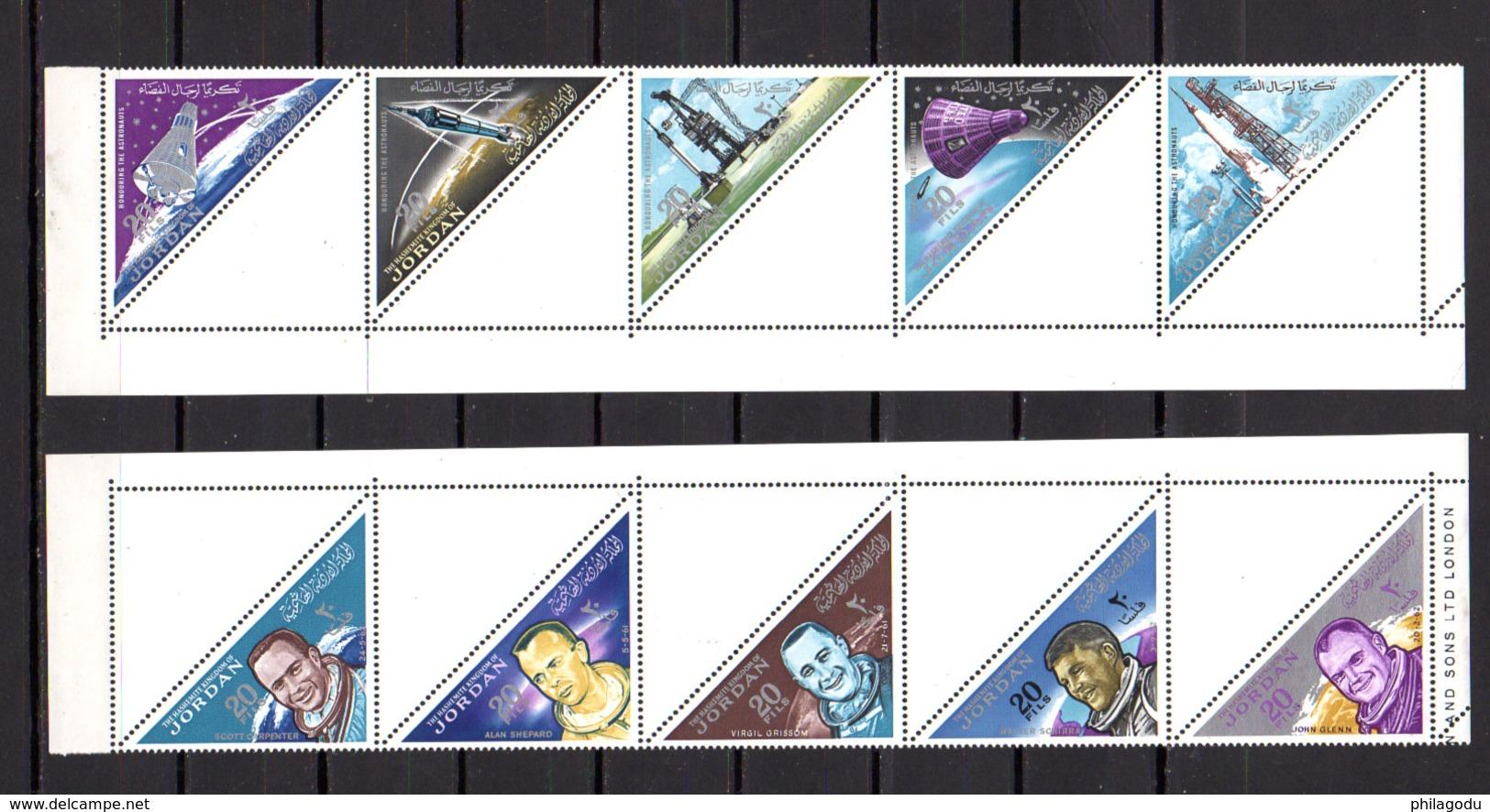 1964     Jordanie, Conquête De L'espace, 3 X  405 / 414** Enbandes Non Pliées, Cote 37,50 € - Jordanien