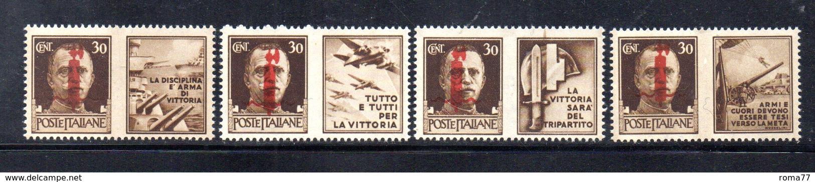 RSI207 - RSI , Propaganda Di Guerra I Valori Da 30 Cent (n. 29/32) ** MNH Gomma Cristallizzata - 4. 1944-45 Repubblica Sociale