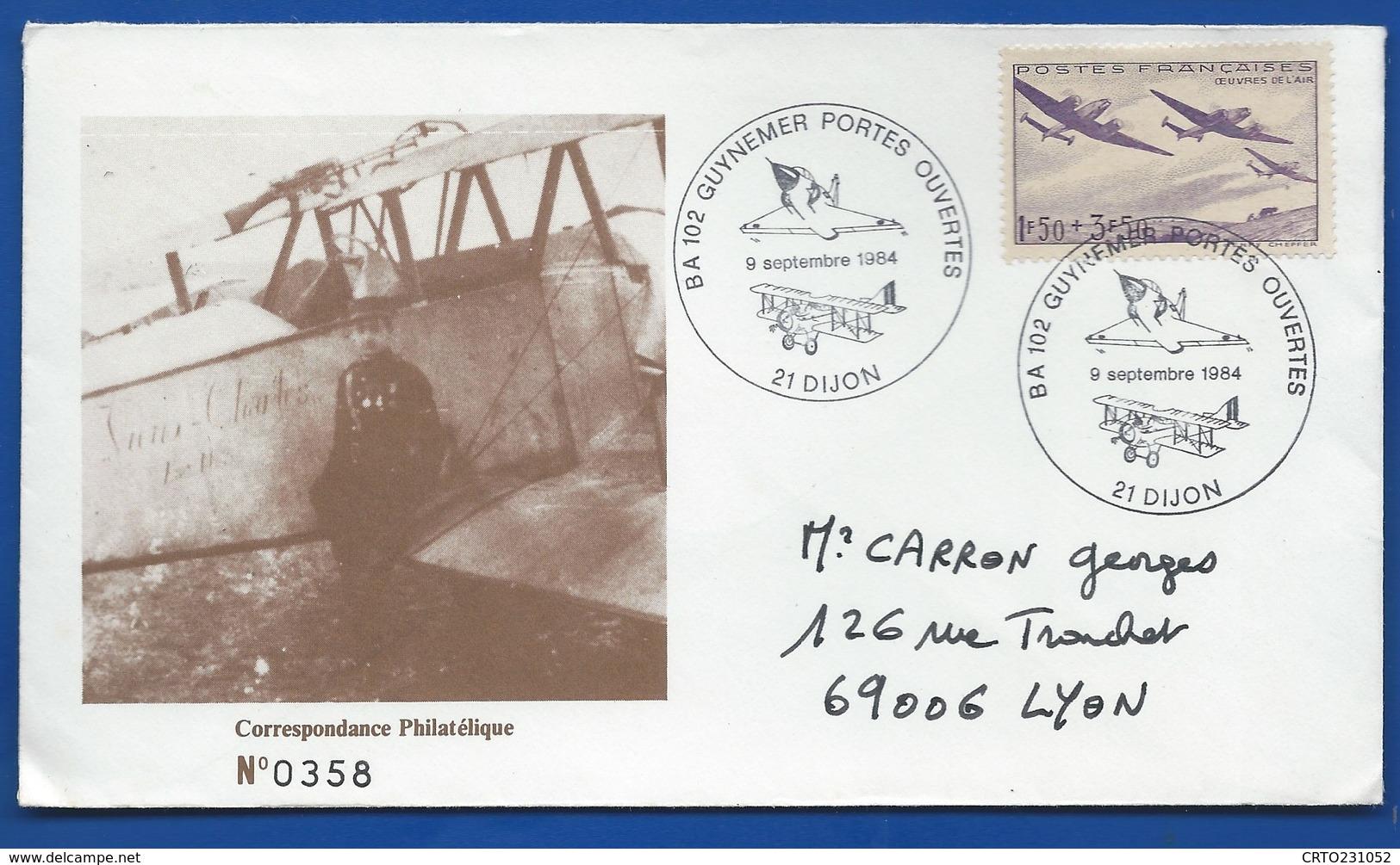 Enveloppe Avec  Timbre N° 540  Oblitération:   BA 102 Guynemer Portes Ouvertes Dijon 9 Septembre 1984 - Marcophilie (Lettres)