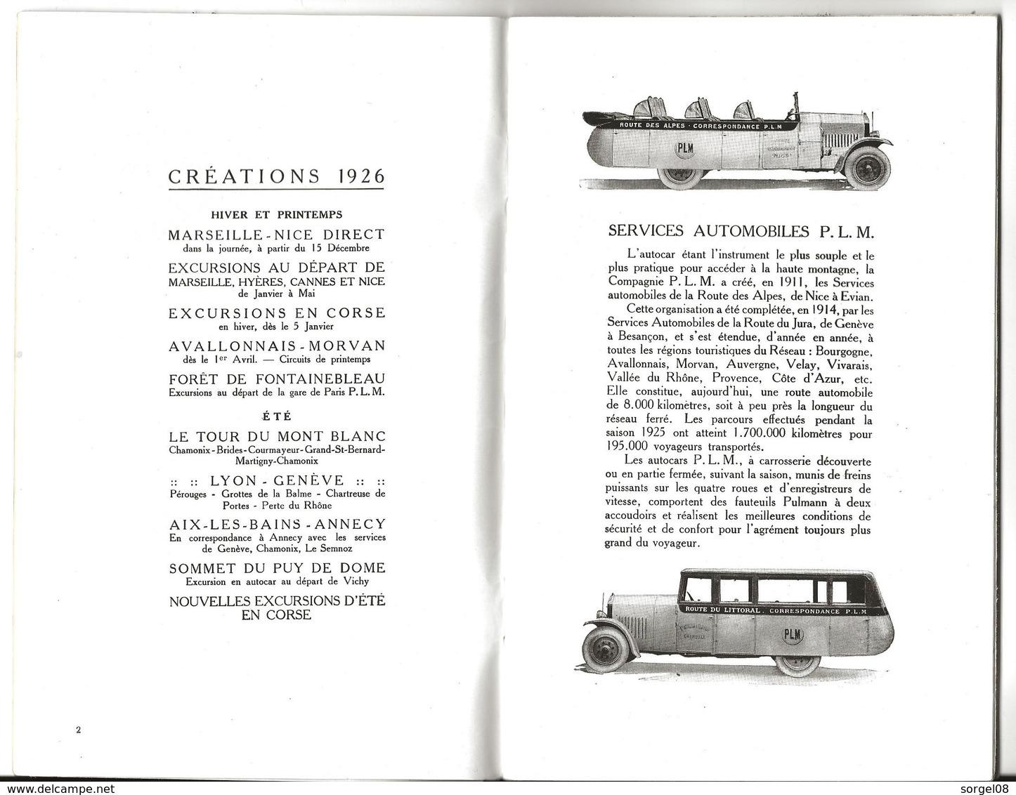 AUTOCARS PLM Programme 1926 48 Pages - Dépliants Touristiques