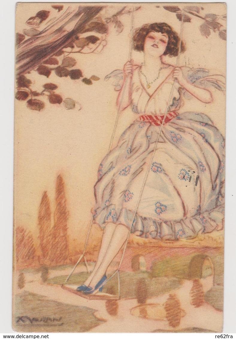 Cartolina Illustrata MAUZAN,  Ragazza Su Altalena  - F.p.  - Anni  '1910 - Mauzan, L.A.