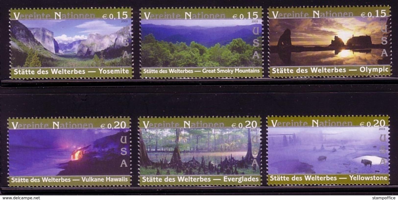 UNO WIEN MI-NR. 399-404 ** KULTUR- Und NATURERBE Der MENSCHHEIT - USA 2003 - Wien - Internationales Zentrum
