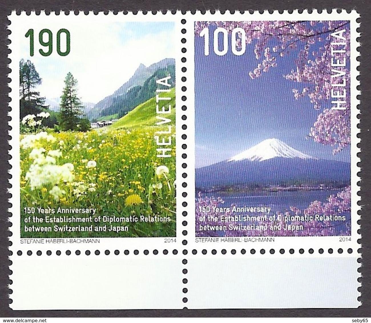 Switzerland / Suisse / Schweiz 2014 - 150 Years Diplomatic Relations With Japan, Samnaun Valley, Fuji Volcano MNH - Suisse