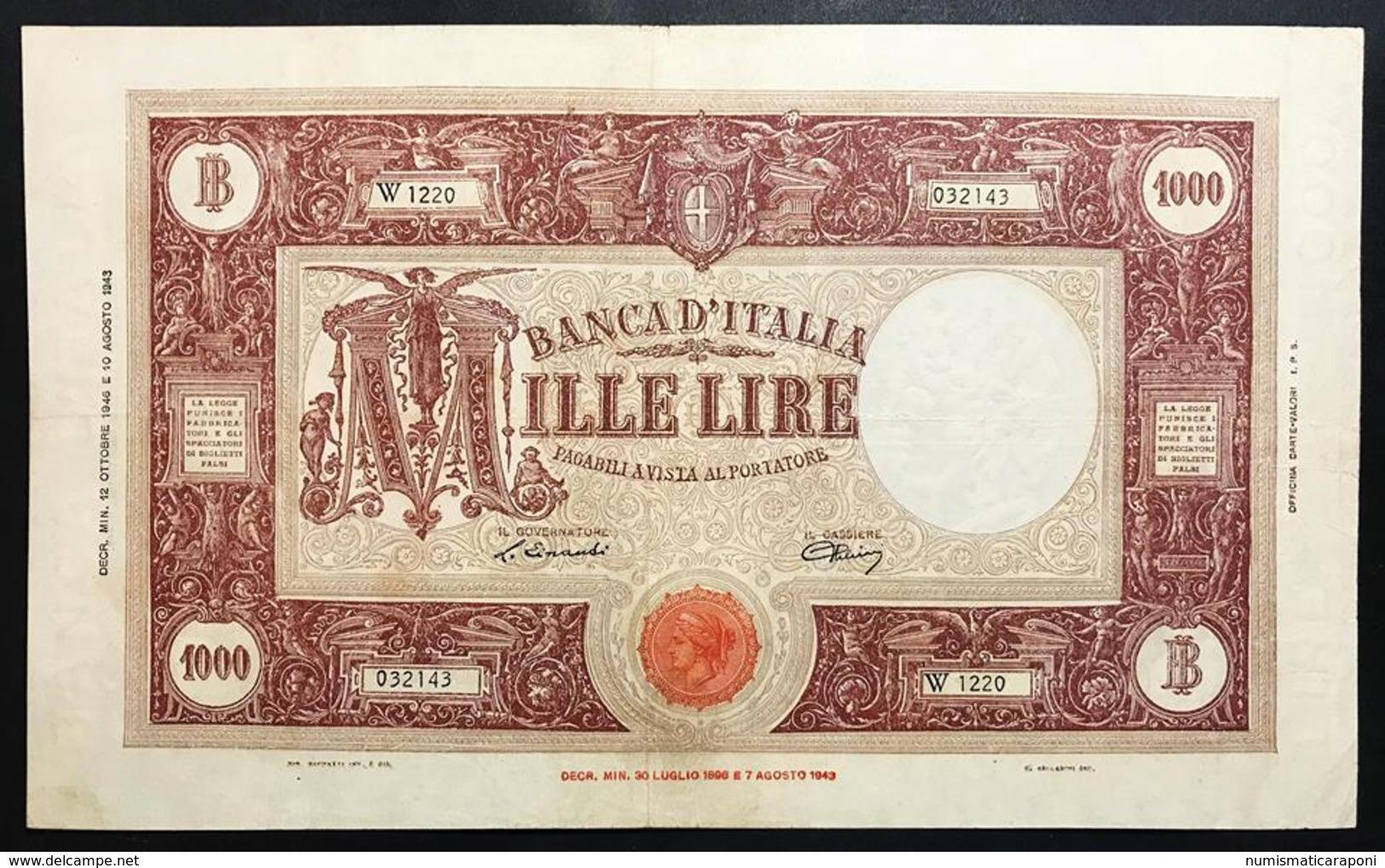 1000 Lire Grande M Testina B.I.12 10 1946 Bel BB Naturale  LOTTO 2300 - 1000 Lire
