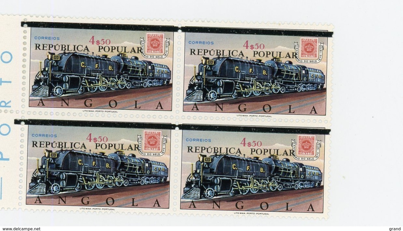 Angola 1980-Trains-Timbre Surchargé-Fine Barre-PALOP 21-YT 575***MNH EN BLOC DE 4 - Angola