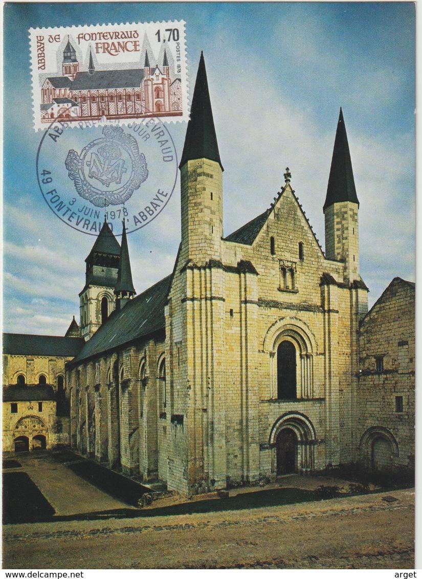 Carte-Maximum FRANCE N° Yvert 2002 (Abbaye De FONTEVRAUD) Obl Sp Ill 1er Jour (Ed Steff) - 1970-79