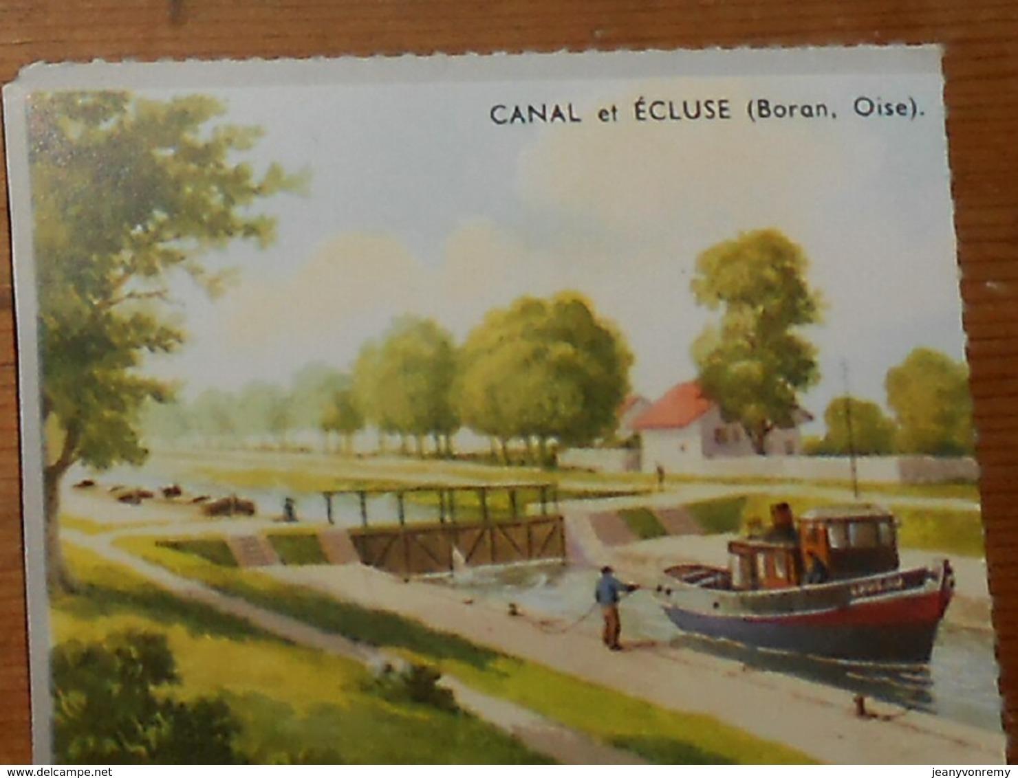 Image D'école Des Années 1950. Canal Et Ecluse à Boran Dans L'Oise. - Vieux Papiers