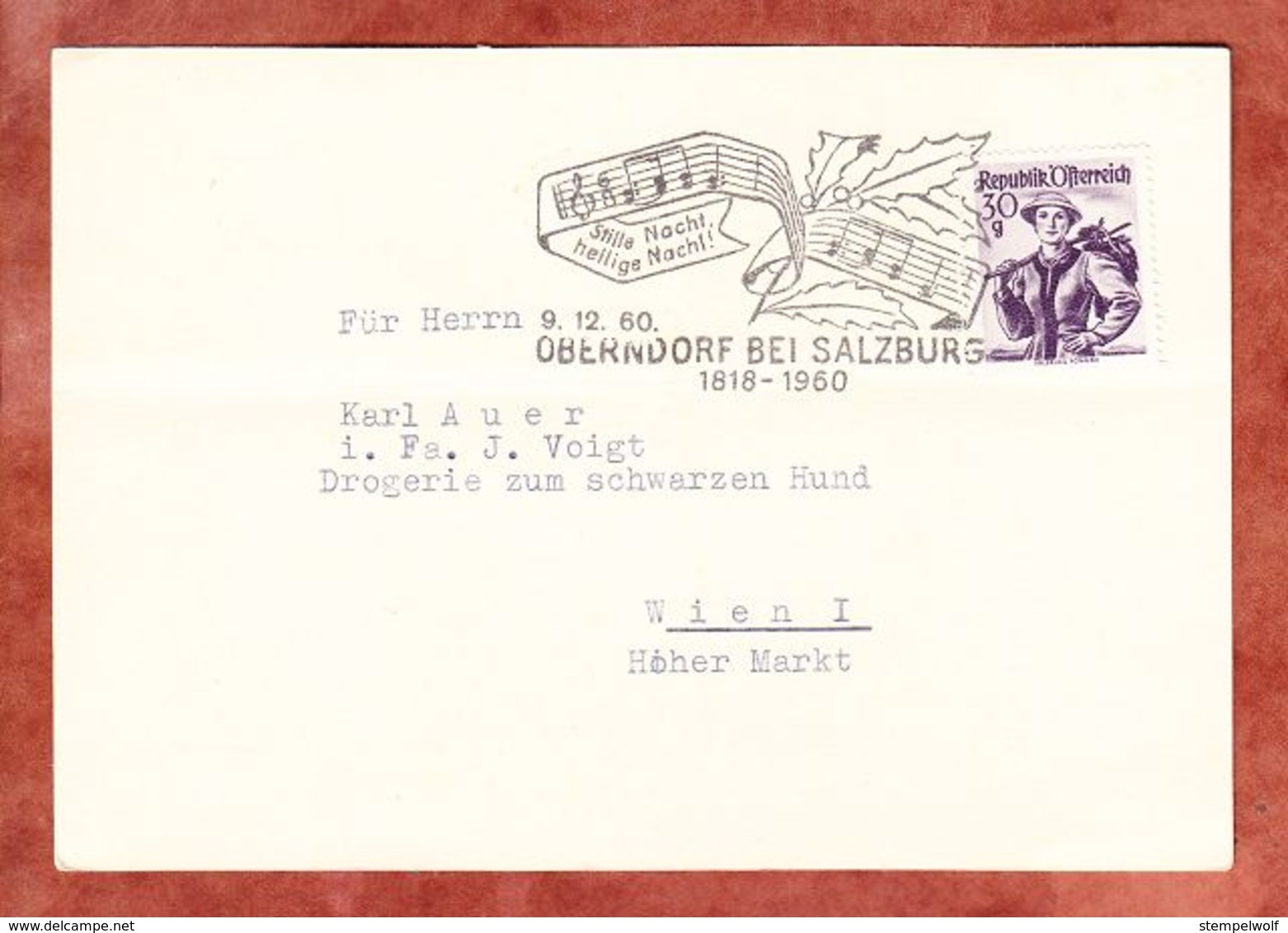 AK Kirche, EF Tracht Salzburg, MS Stille Nacht... Oberndorf, Nach Wien 1960 (70509) - 1945-60 Lettres