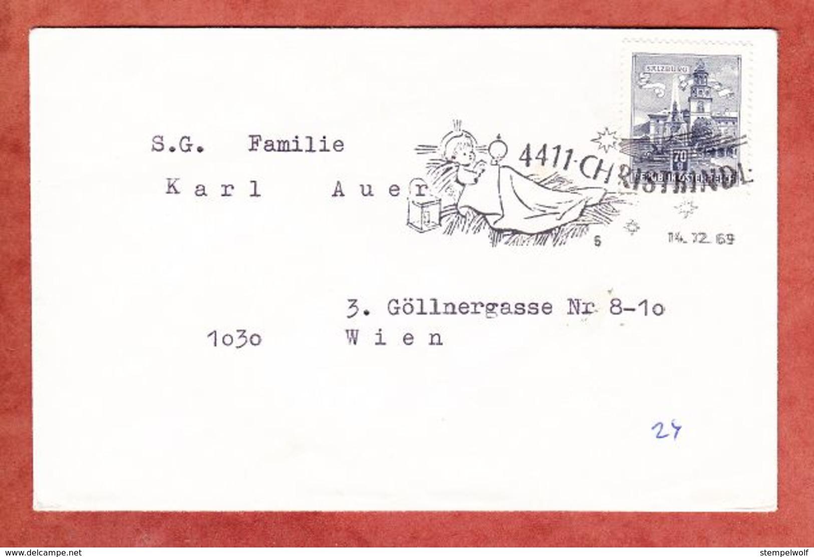 Brief, EF Salzburg, SoSt Christkindl, Nach Wien 1969 (70510) - 1945-.... 2. Republik