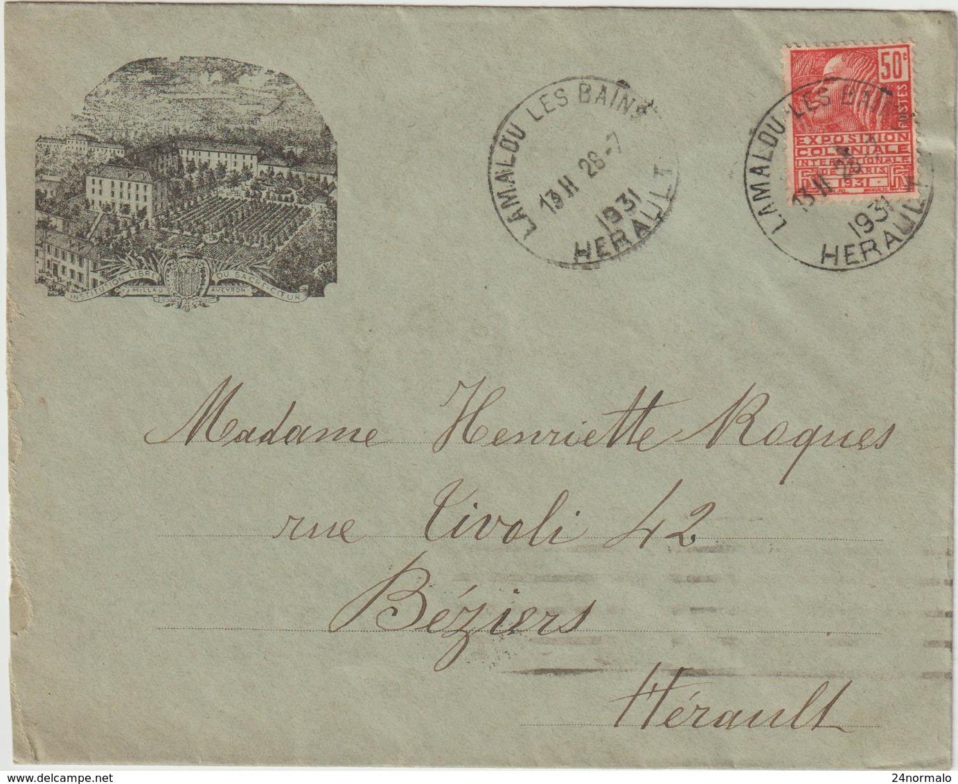 Hérault ESC Illustrée 50c Facchi O. Horoplan Lamalou Les Bains 1931 - Marcophilie (Lettres)
