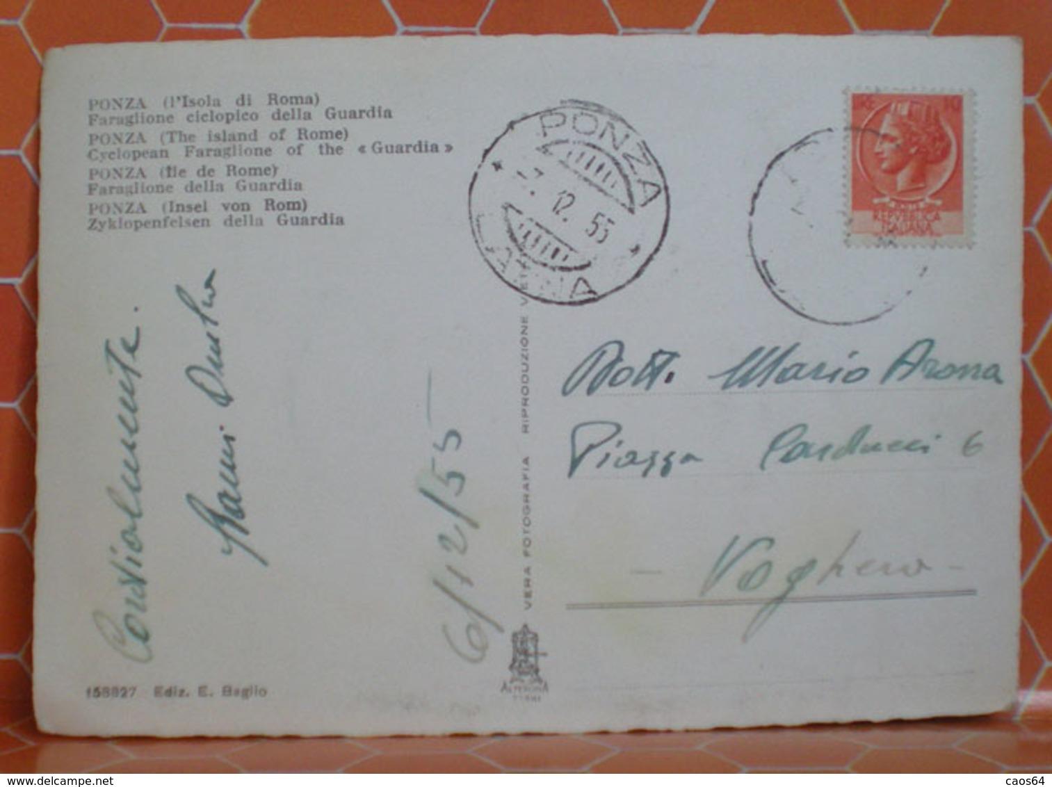 Ponza Isola Di Roma Faraglioneciclopicodella Guardia Cartolina 1955 Con Annullo Frazionato - Altre Città
