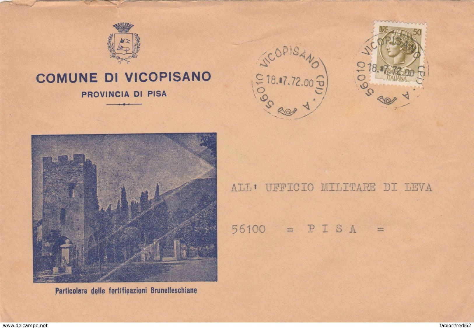 LETTERA 1972 50 L TIMBRO VICOPISANO (LV242 - 6. 1946-.. Repubblica