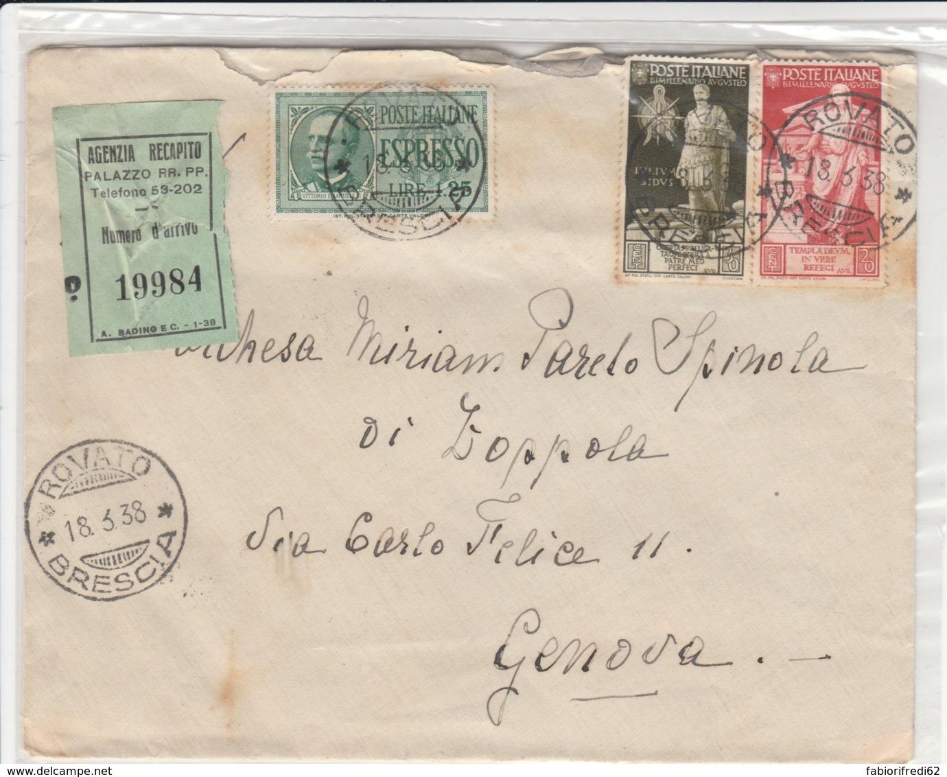 ESPRESSO 1938 1,25 +20+30 AUGUSTEO TIMBRO ROVATO (LV261 - 1900-44 Vittorio Emanuele III