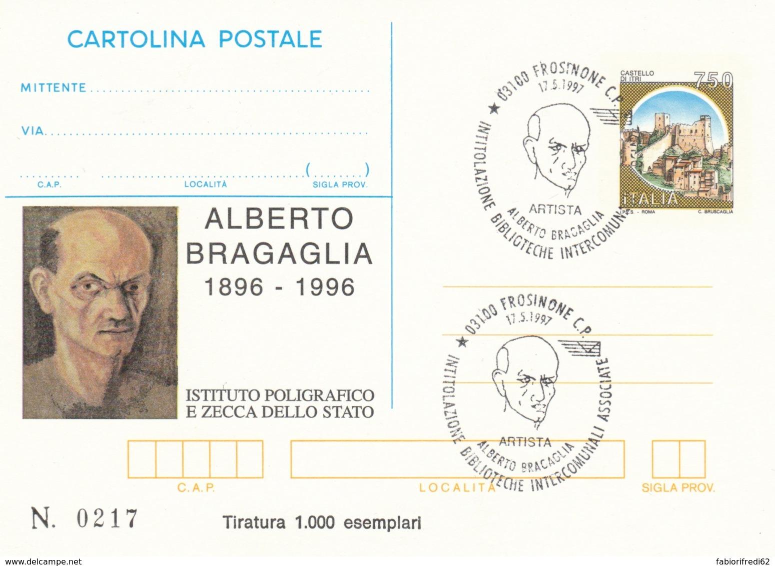 INTERO POSTALE 1997 BRACAGLIA TIR. 1000-ANNULLO SPECIALE (LV756 - Interi Postali