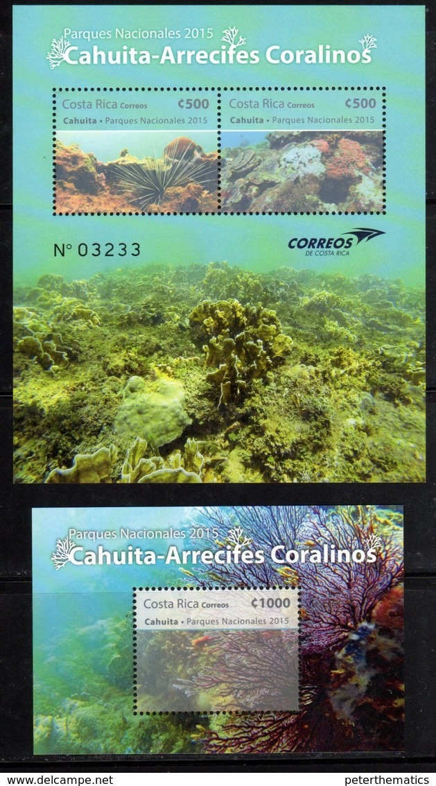 COSTA RICA, 2015, MNH,NATIONAL PARKS,  CORALS, CORAL REEFS, SHEETLET+S/SHEET - Marine Life