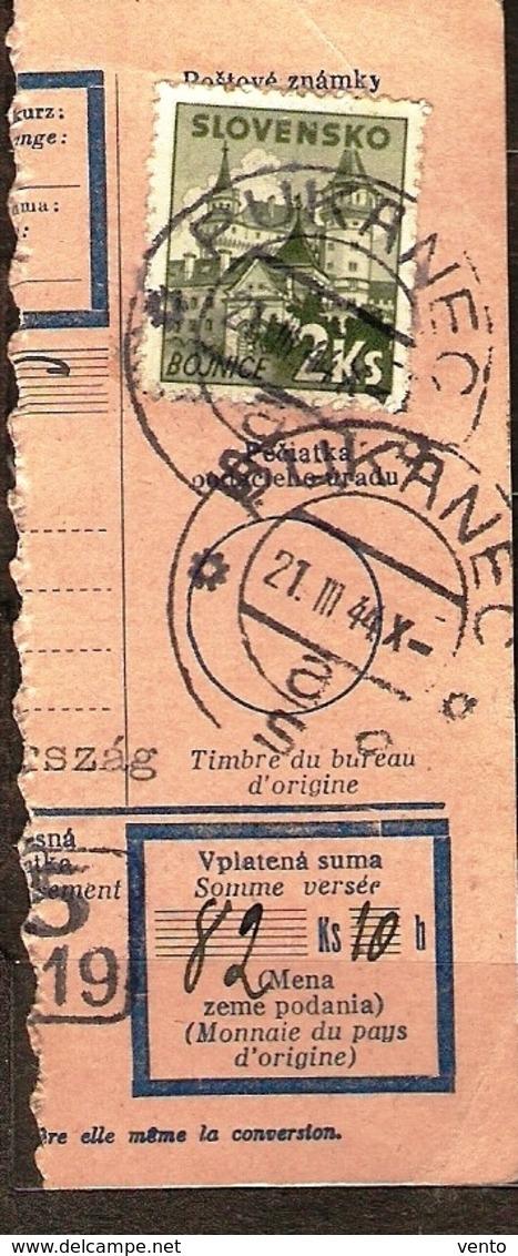 Slovakia Money Order Pukanec 1944 ... Ak223 - Lettres & Documents
