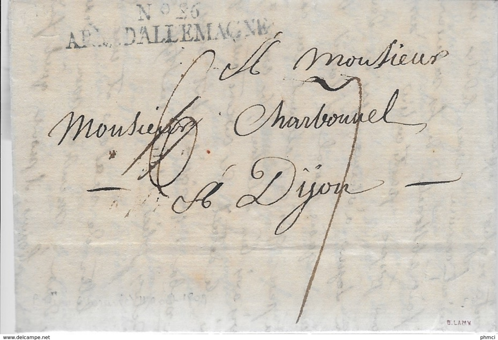 N°26 ARM D'ALLEMAGNE AVEC TAXE 6 DE BRUNN EN MORAVIE POUR DIJON 1809 - Signée Lamy - TTB - Marcophilie (Lettres)