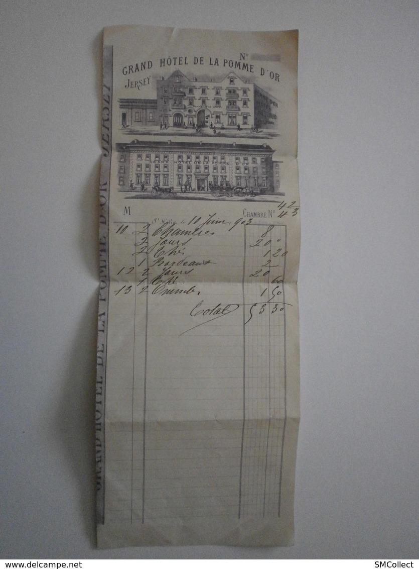 Jersey. Grand Hotel De La Pomme D'or. Facture Du 10 Juin 1903 - Royaume-Uni