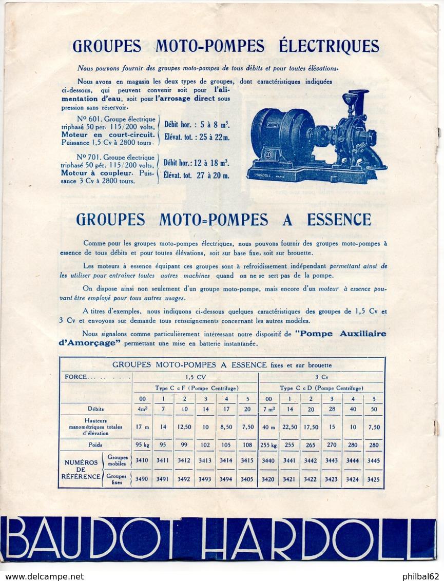 Catalogue De 8 P. L'eau à Discrétion Avec Les Moto-pompes Baudot-Haroll. Goupes Moto-pompes Et Accessoires. - France