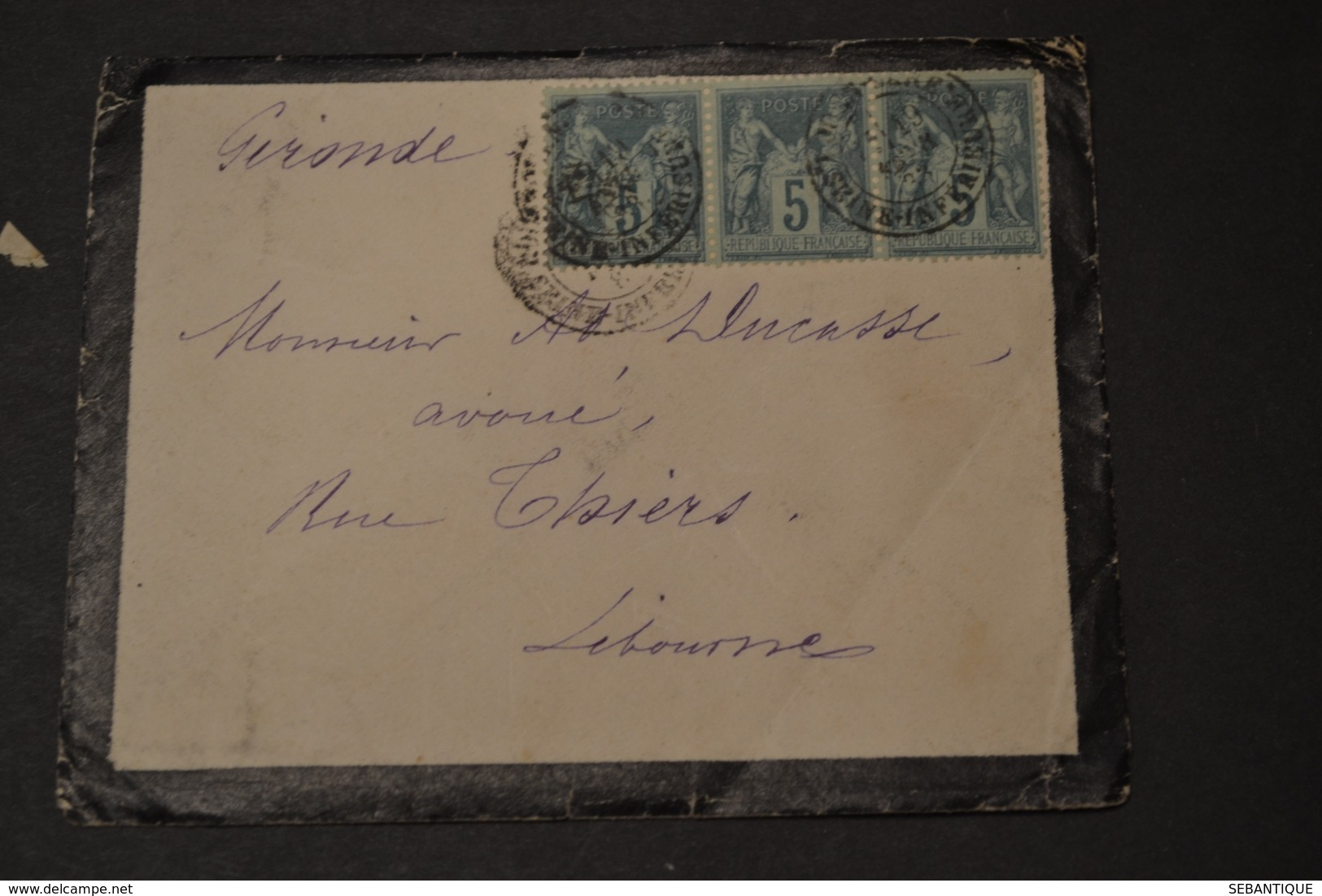 Lettre 1888 Type Sage X 3 + Cachet Ambulant BORDEAUX RAPIDE - 1877-1920: Période Semi Moderne