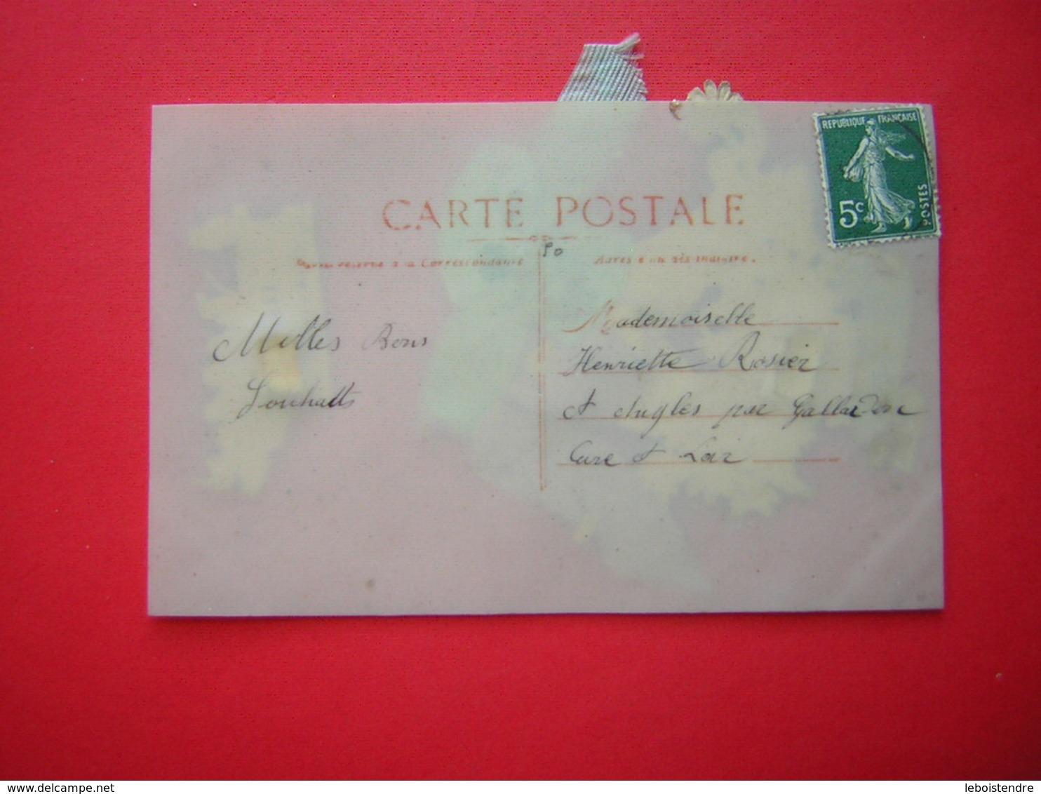 CPA SORTE DE PLASTIQUE RHODOÏD FANTAISIE DECOUPIS  BONNE ANNEE    VOYAGEE  TIMBRE - Cartes Postales