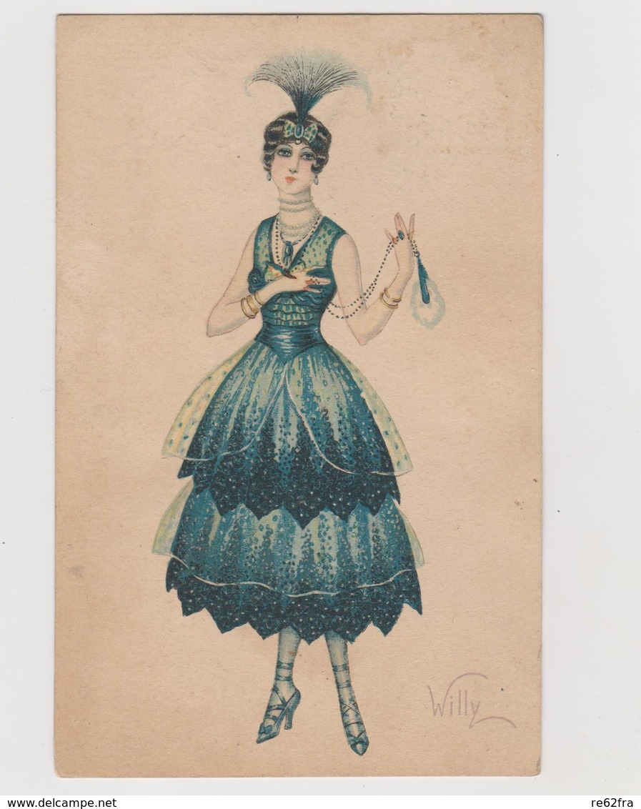Cartolina Illustrata Da WILLY , Donna In Abiti Da Festa - F.p.  - Anni  '1910 - Illustrators & Photographers
