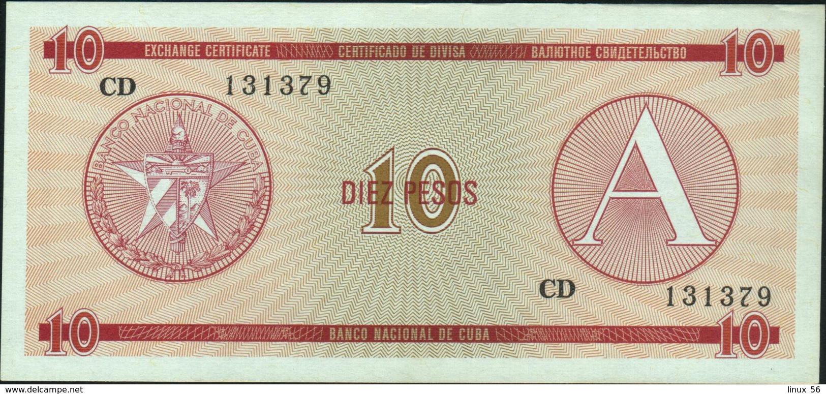 CUBA - 10 Pesos Nd. {Foreign Exchange Certificates} AU-UNC P. FX4 - Cuba