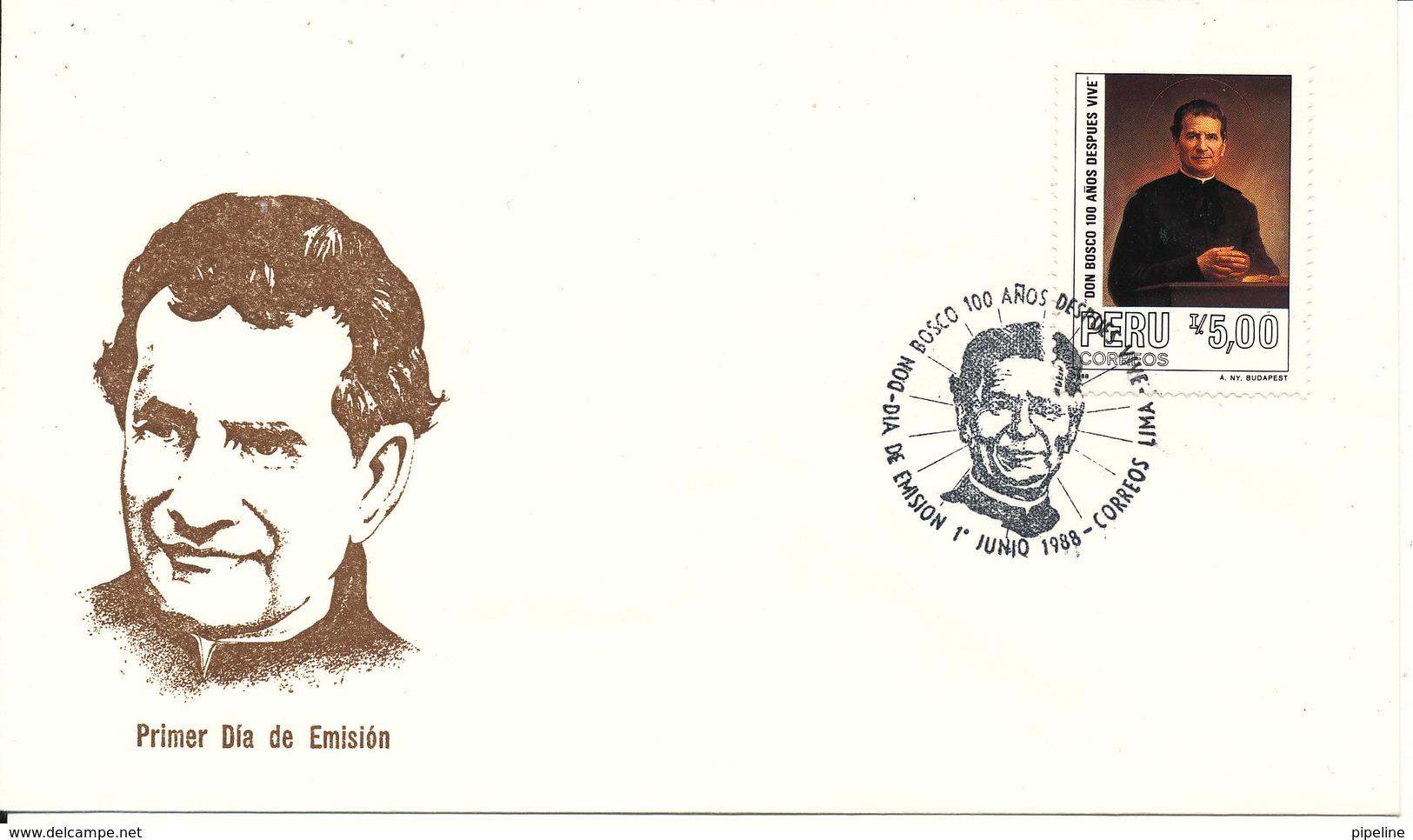 Peru FDC 1-6-1988 San Juan Bosco With Cachet - Peru