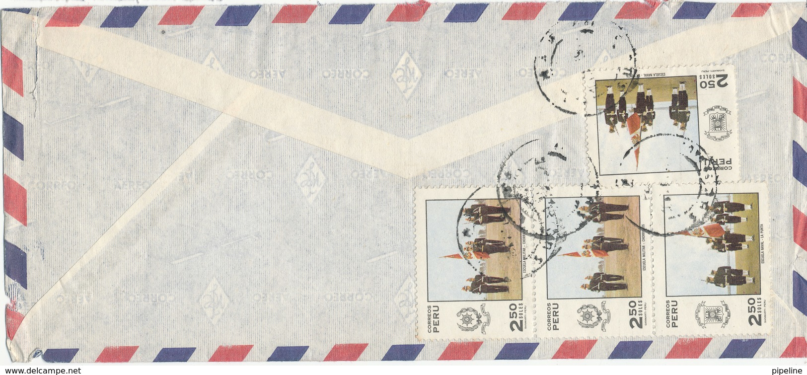 Peru Air Mail Cover Sent To Denmark (all The Stamps On The Backside Of The Cover) - Peru