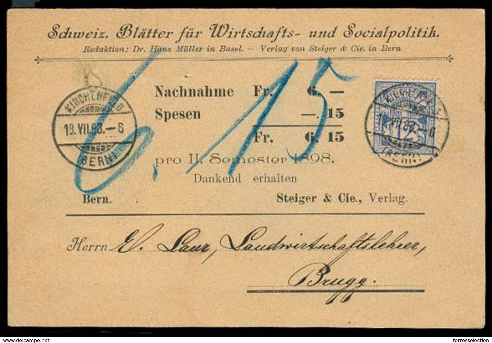 SWITZERLAND. 1893. Kirchenfeld - Brugg. Private Fkd Card 12c Blue Outremer. VF. - Switzerland