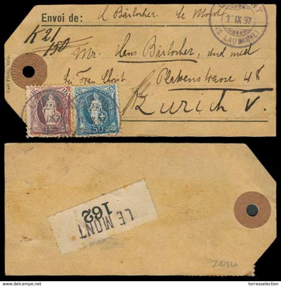 SWITZERLAND. 1897. Le Mont - Zurich. Tag Baj Reg Fkd 50c 1 Fr (the Best One). Tied Cds. Fine. - Unclassified