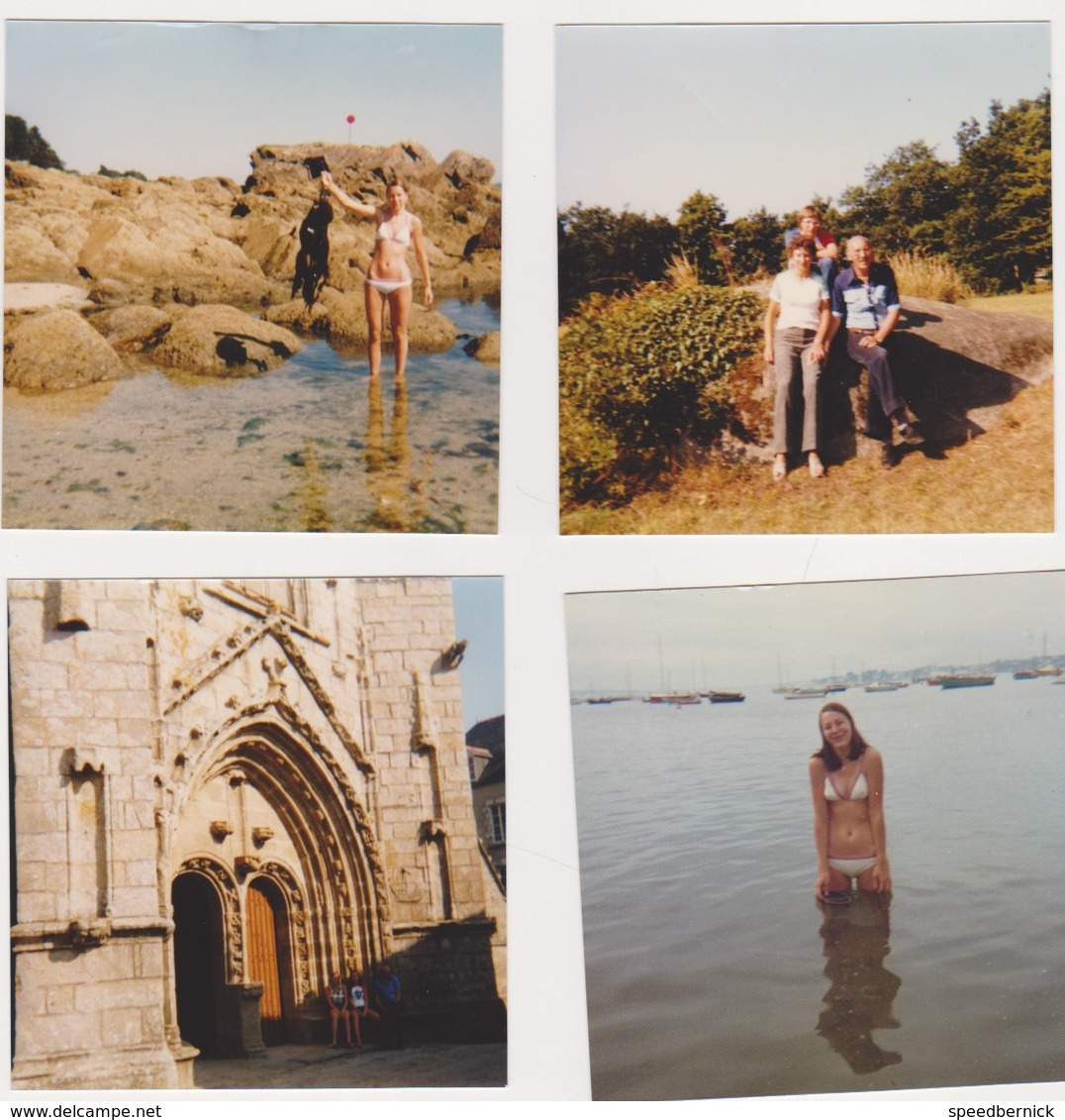 26898 Dix Photos CONCARNEAU Bretagne France -touriste 1978 Belgique Fille Plage Bateau - Lieux