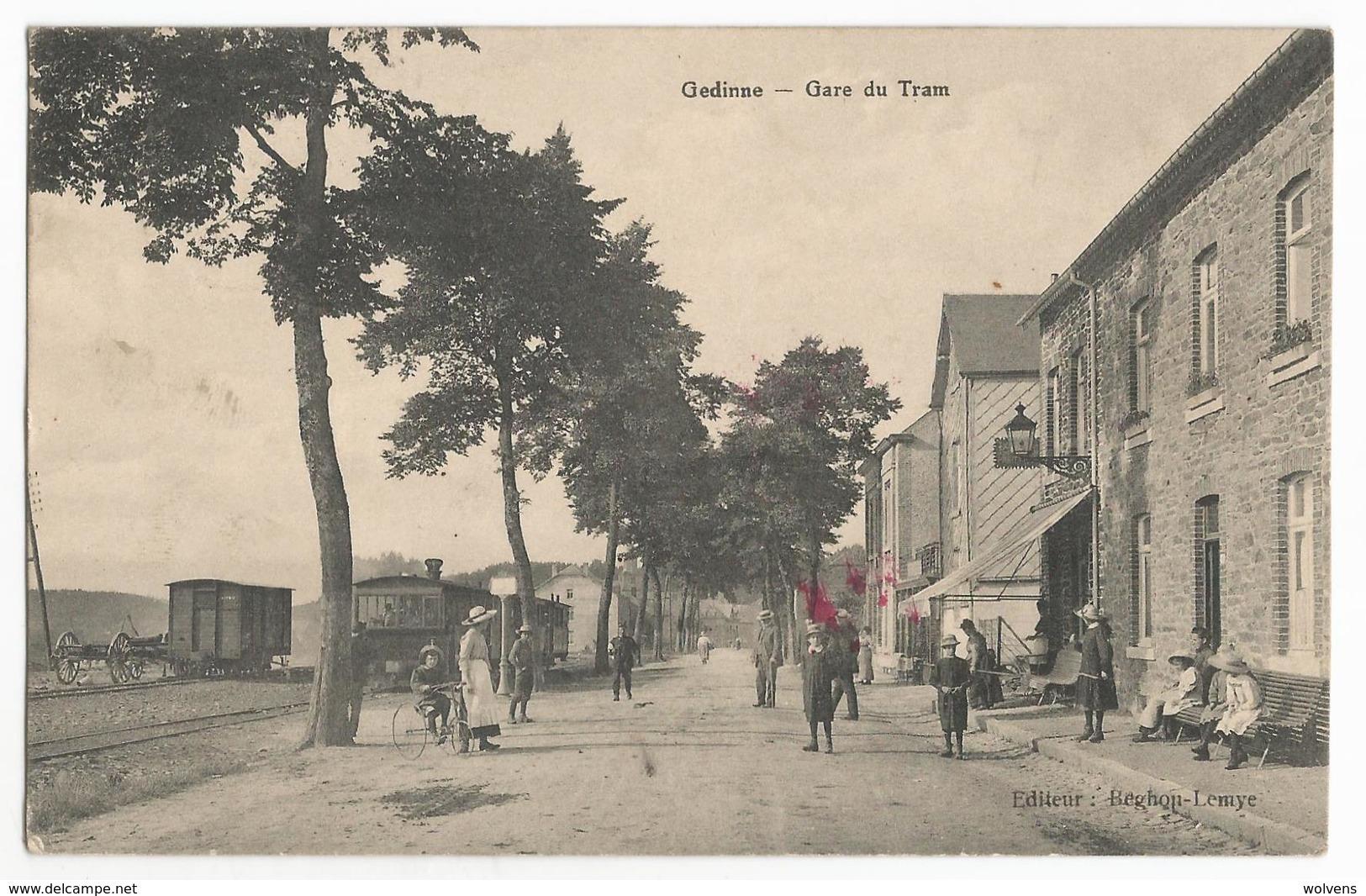 Gedinne Gare Du Tram Carte Postale Ancienne Animée Tramway à Vapeur - Gedinne
