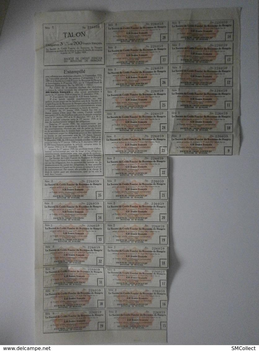 Hongrie. Budapest, Crédit Foncier. Obligation De 500 Frank Du 1 Juillet 1899 - Banque & Assurance