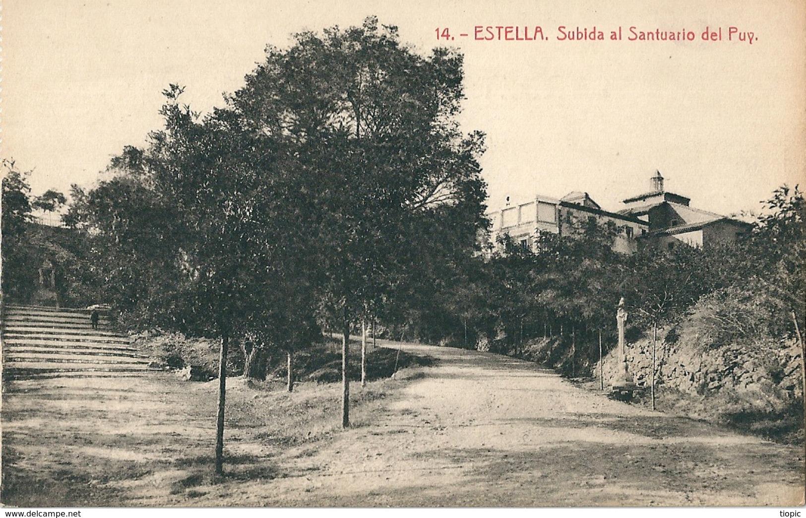 4  Cpa  D' ESTELLA   ( Espagne  ) Plaza E Iglesia De San Juan. Basilica De Nuestra Senora Del Puy, Puente Del Azucarero - Espagne