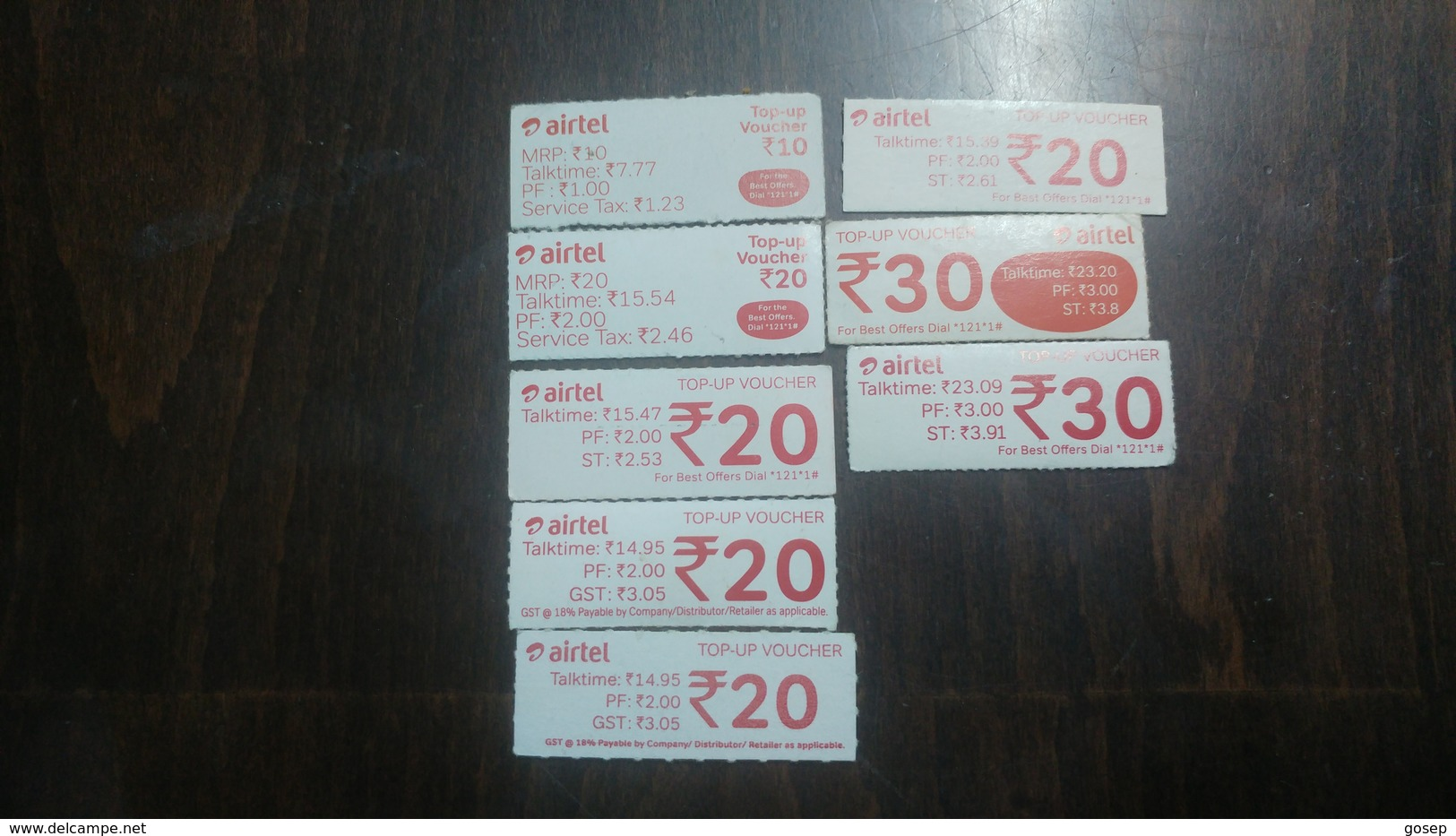 India-airtel Top Up Voucher-(81)(rs.10,20,30)(8cards)()(look Out Side)used Card+2 Card Prepiad Free - India