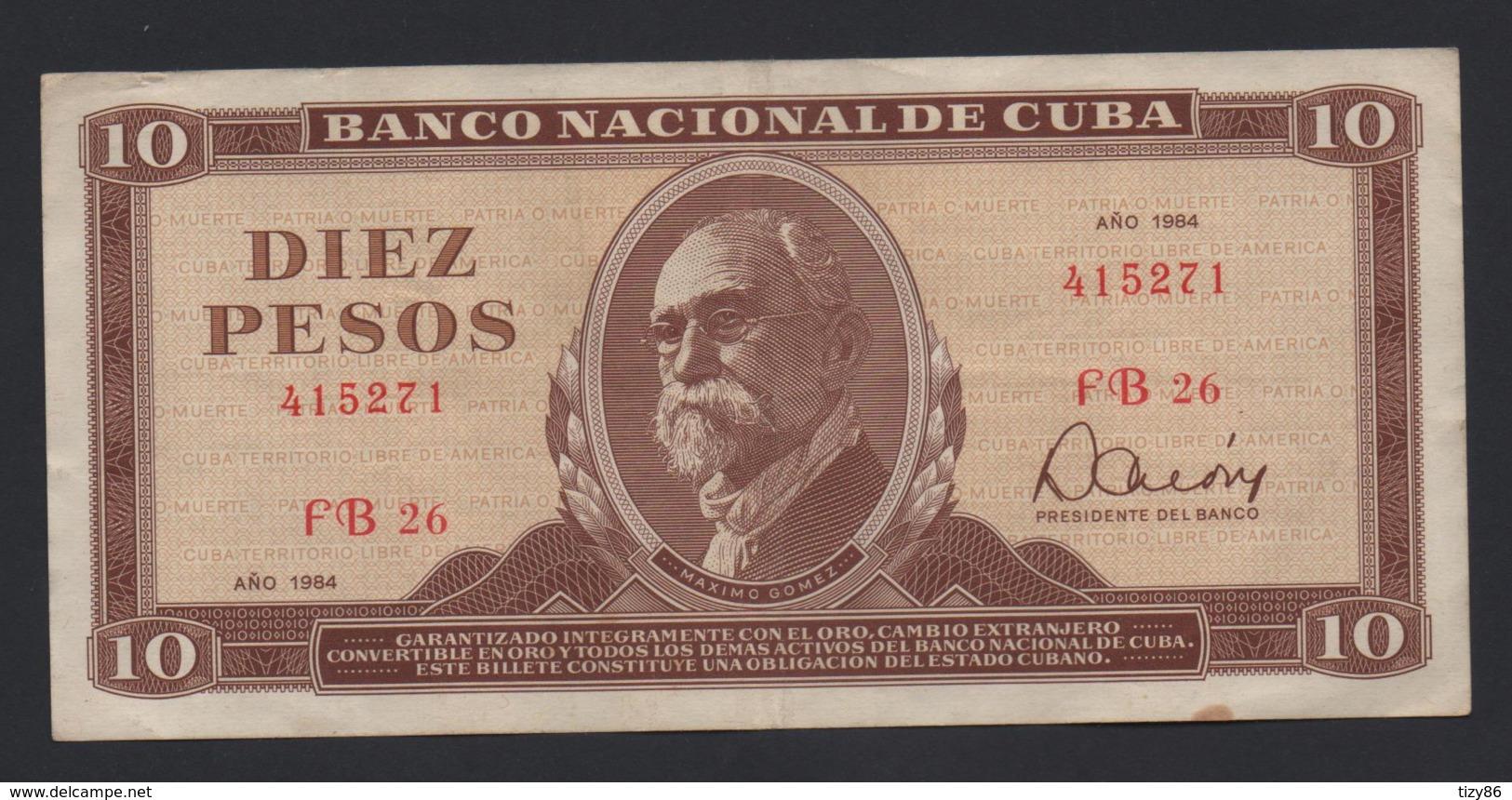 Banconota Cuba 10 Pesos 1984 Circolata - Cuba