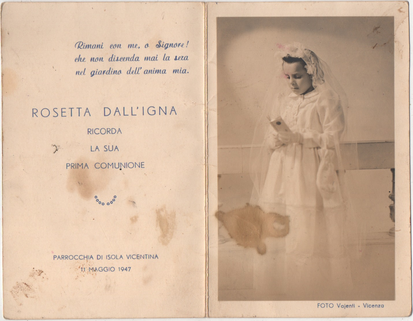 Santino Di Prima Comunione Di Rosetta Dall'Igna (Isola Vicentina, Vicenza 1947) - Communion