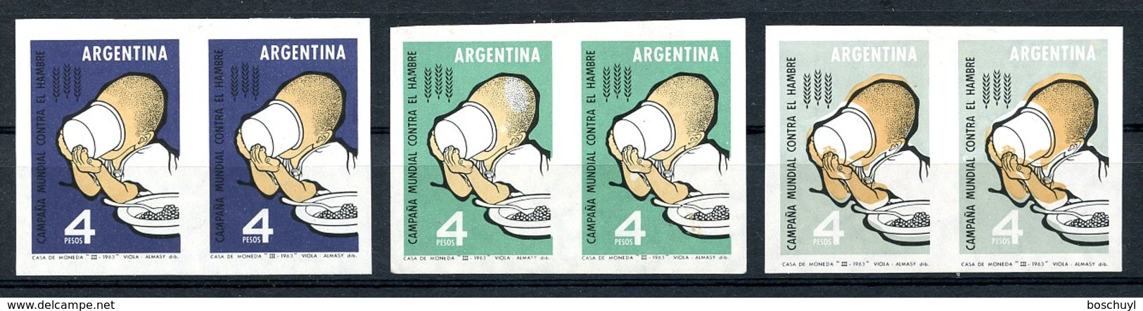Argentina, 1963, Freedom From Hunger, United Nations, MLH Imperforated Color Proofs, Michel 813 - Argentina