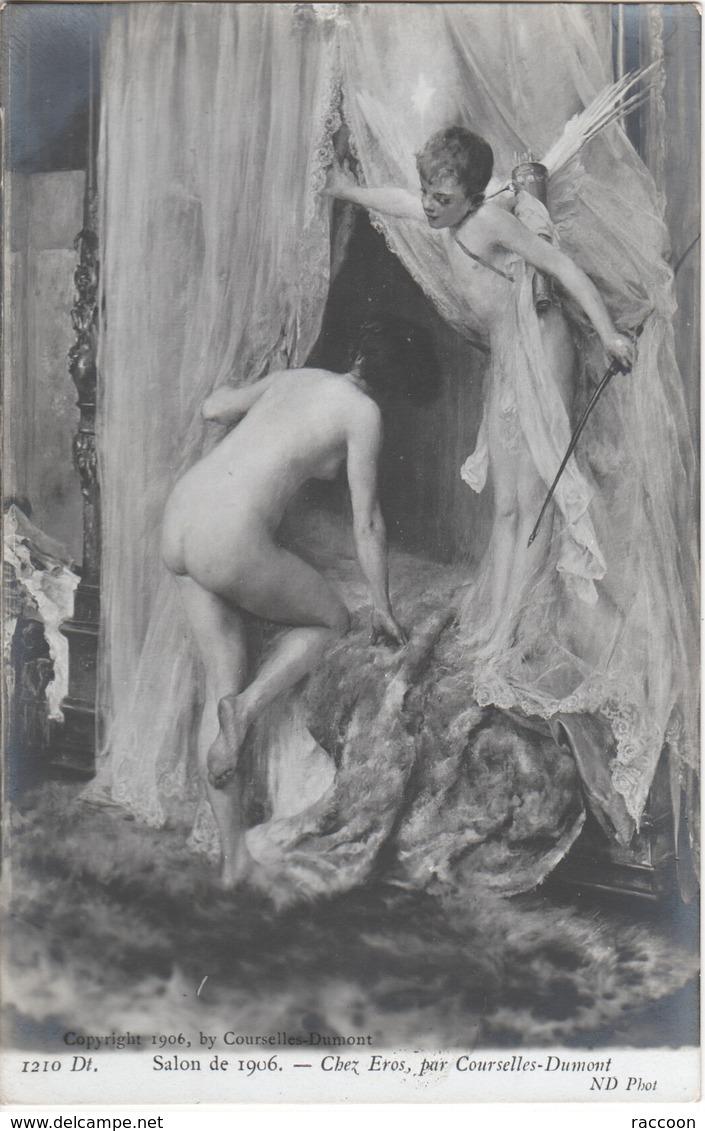 COURSELLES-DUMONT: Chez Eros [ Nu Femme CPA ND. ] ER024 - Tableaux