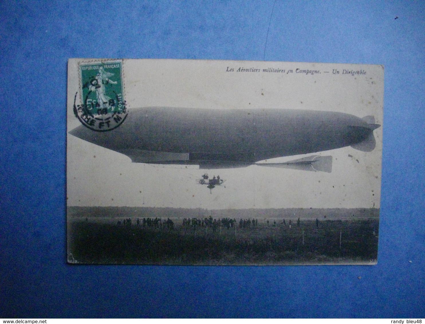 Les Aérostiers Militaires En Campagne  -  Un Dirigeable  -  Oblitération Départ : Meurthe Et Moselle  -  54  - - Dirigeables