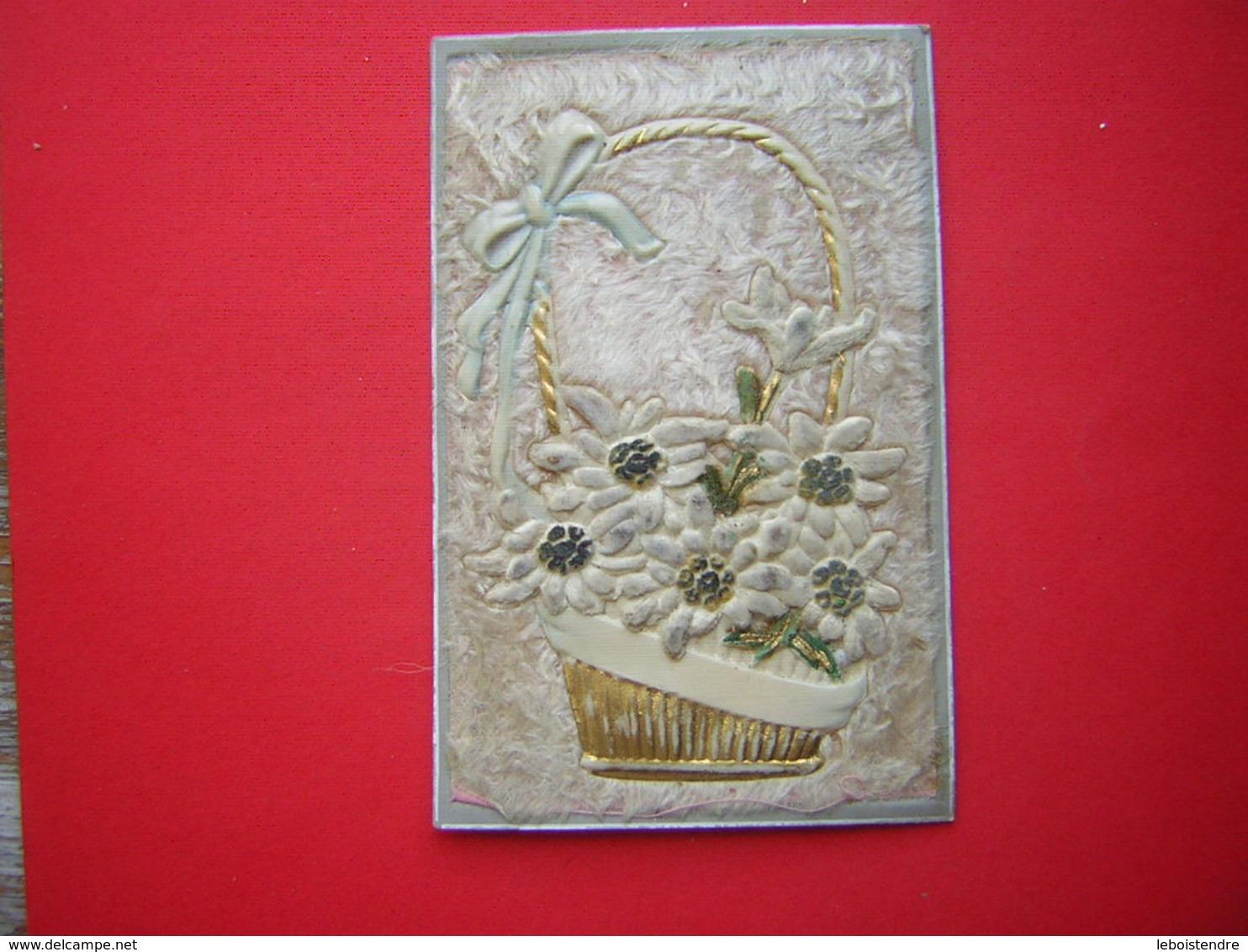 CPA  AVEC TISSU SORTE DE FEUTRINE PANIER EN PLASTIQUE   VOYAGEE 1908TIMBRE - Cartes Postales