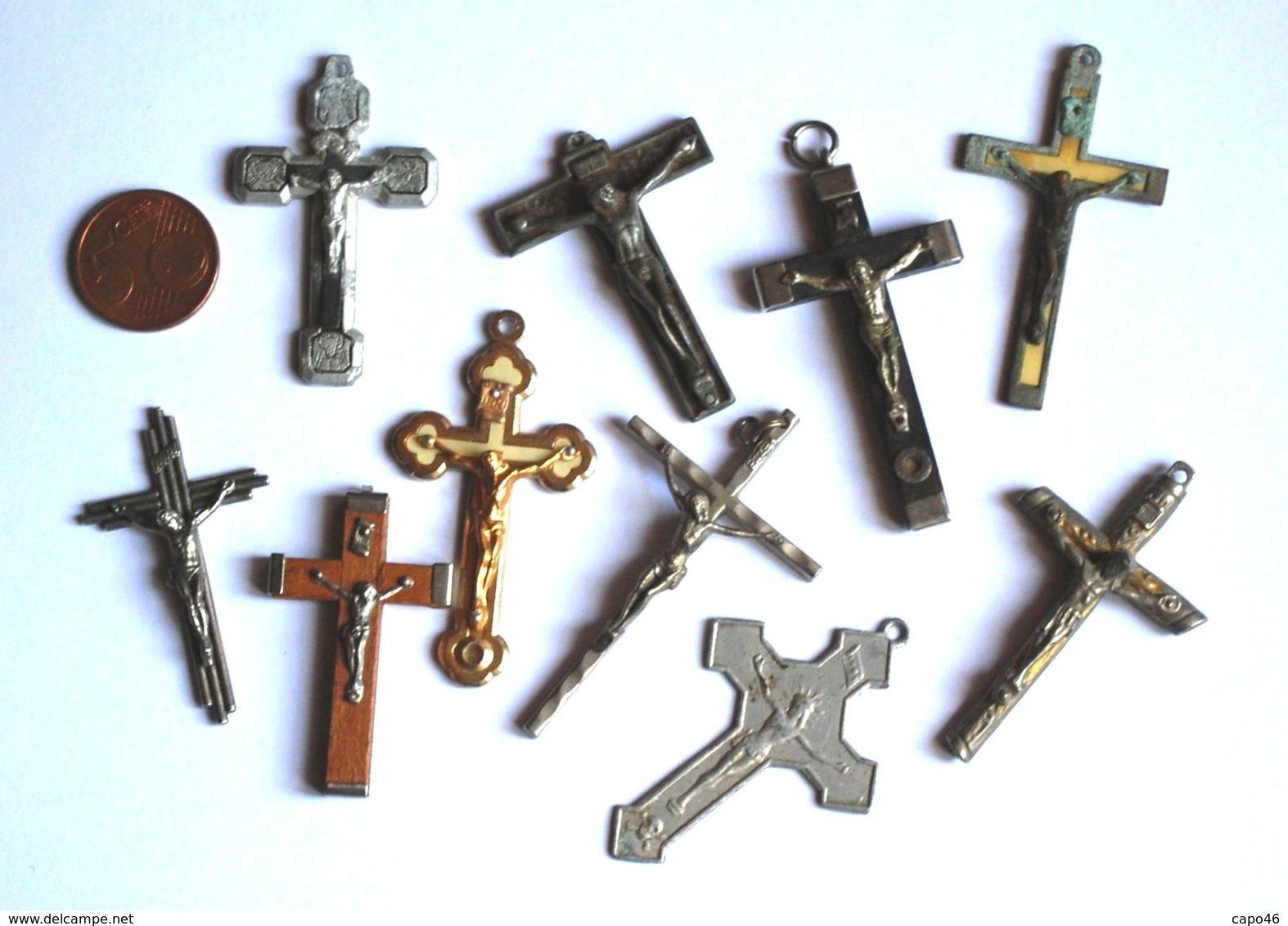 CR 02 - LOTTO DI 10 CROCIFISSI PER CORONE ROSARIO - Religione & Esoterismo