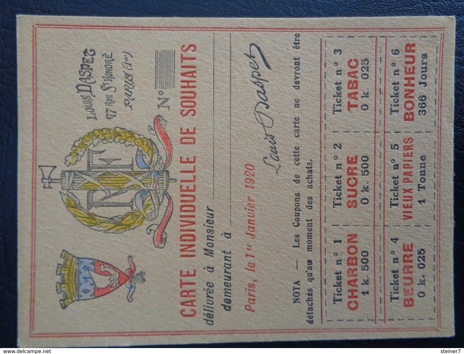 Carte Individuelle De Souhaits (Louis Daspet) - Vecchi Documenti