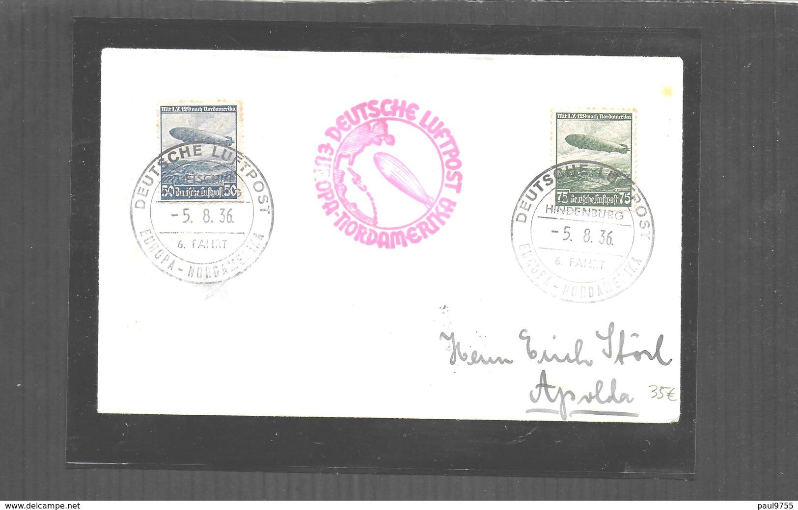 DEUTSCHES III REICH 1936    Mi 606-607 DEUTSCHE LUFTPOST DEUTSCHLAND -N-Y  ZEPPELIN HINDENBURG - Germany